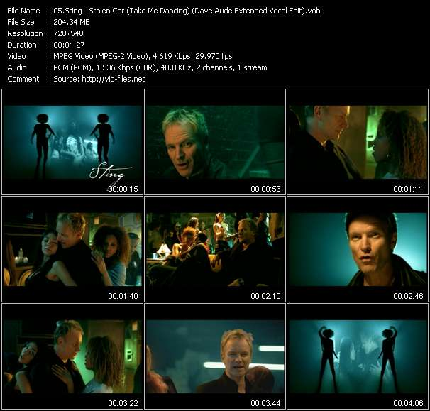 Screenshot of Music Video Sting - Stolen Car (Take Me Dancing) (Dave Aude Extended Vocal Edit)