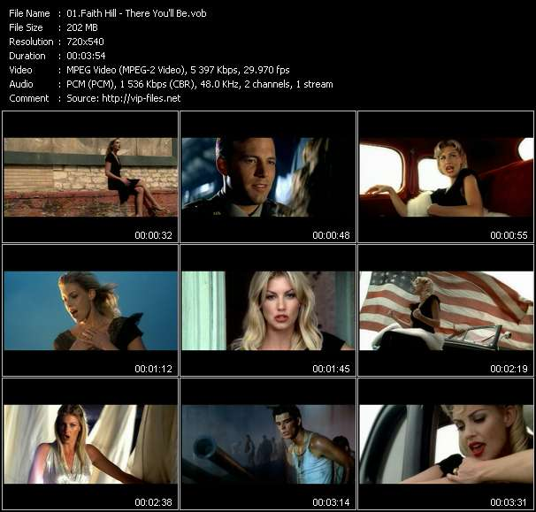 Screenshot of Music Video Faith Hill - There You'll Be