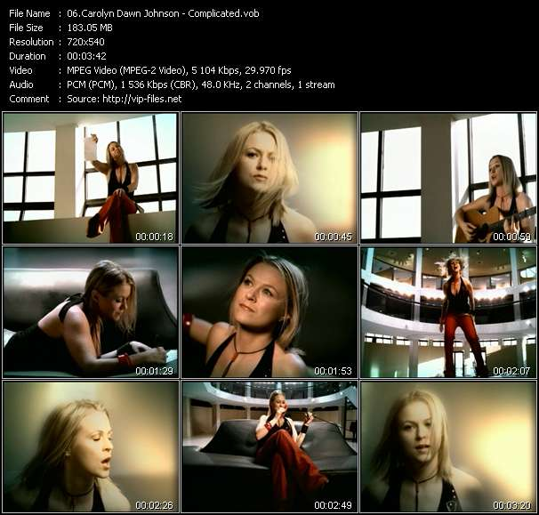 Screenshot of Music Video Carolyn Dawn Johnson - Complicated