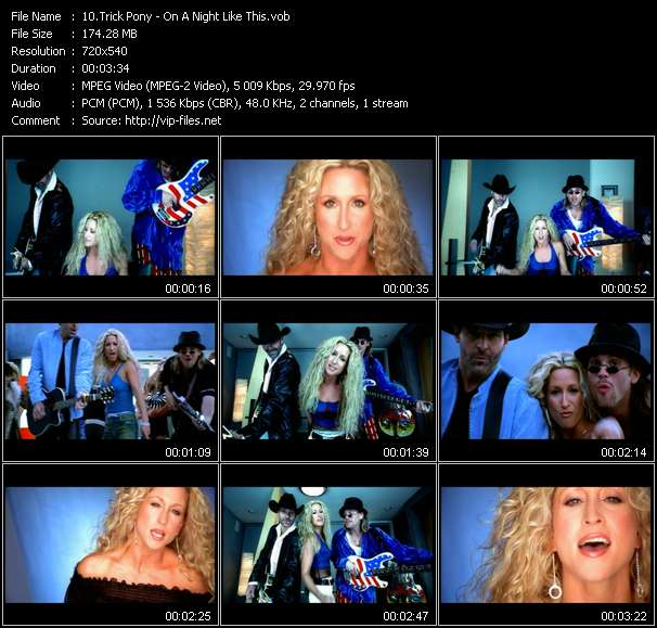 Screenshot of Music Video Trick Pony - On A Night Like This