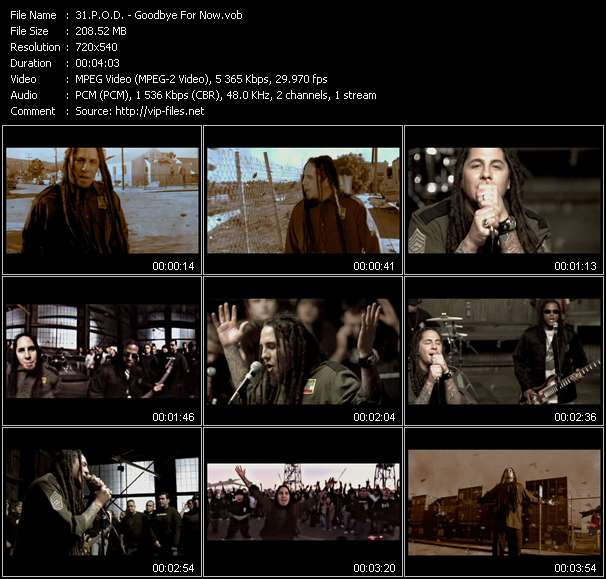 Screenshot of Music Video P.O.D. - Goodbye For Now