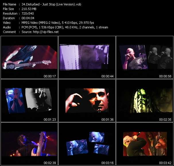 Screenshot of Music Video Disturbed - Just Stop (Live Version)