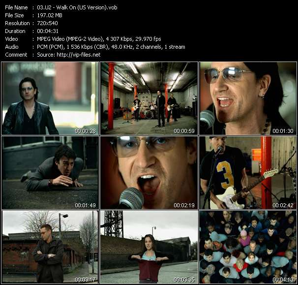Screenshot of Music Video U2 - Walk On (US Version)
