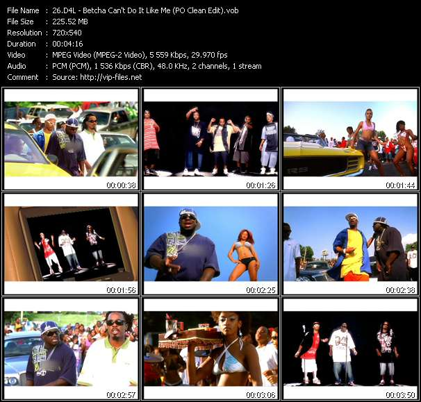 Screenshot of Music Video D4L - Betcha Can't Do It Like Me (PO Clean Edit)