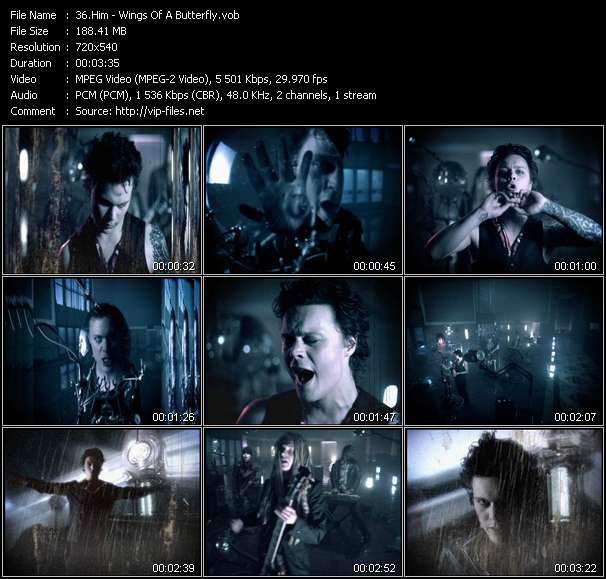 Screenshot of Music Video Him - Wings Of A Butterfly