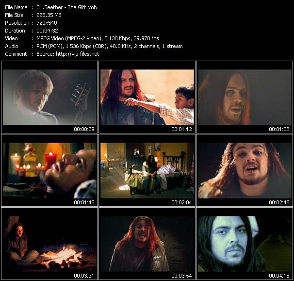 Screenshot of Music Video Seether - The Gift