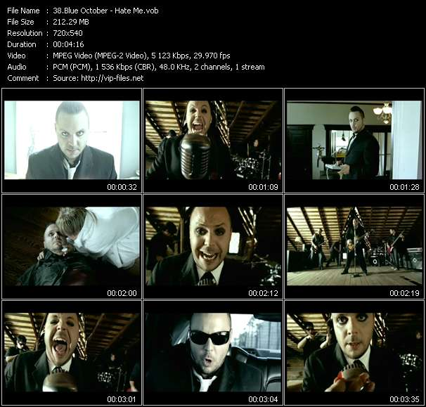 Screenshot of Music Video Blue October - Hate Me