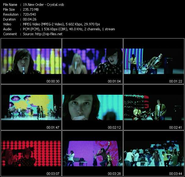 Screenshot of Music Video New Order - Crystal