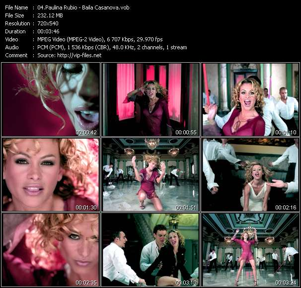 Screenshot of Music Video Paulina Rubio - Baila Casanova