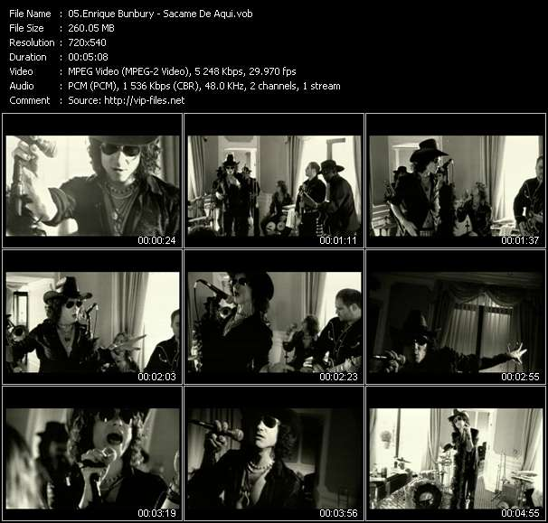 Screenshot of Music Video Enrique Bunbury - Sacame De Aqui