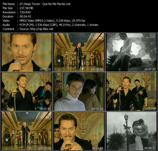 Screenshot of Music Video Diego Torres - Que No Me Pierda