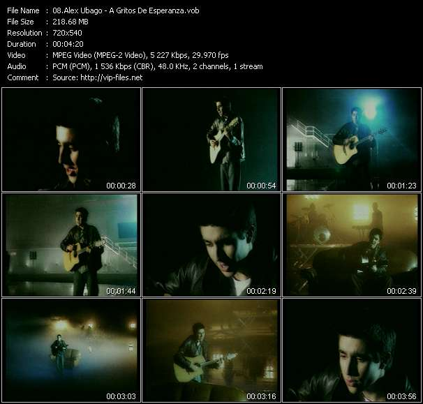 Screenshot of Music Video Alex Ubago - A Gritos De Esperanza