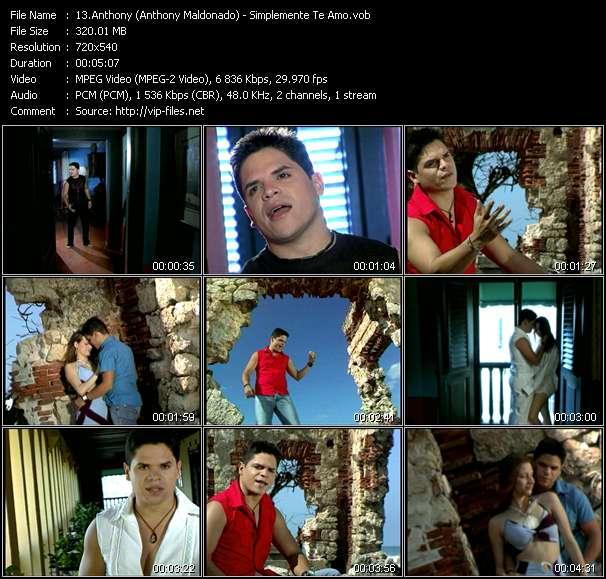 Screenshot of Music Video Anthony (Anthony Maldonado) - Simplemente Te Amo