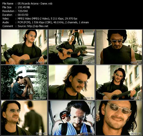 Screenshot of Music Video Ricardo Arjona - Dame