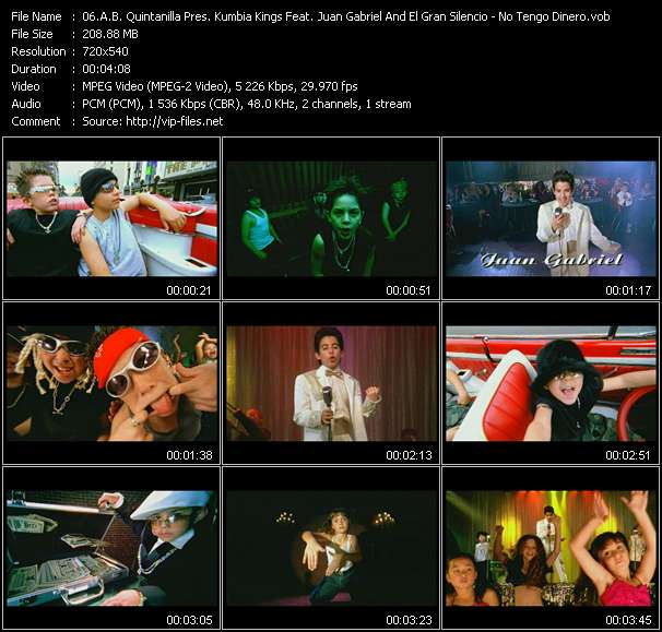 Screenshot of Music Video A.B. Quintanilla Pres. Kumbia Kings Feat. Juan Gabriel And El Gran Silencio - No Tengo Dinero