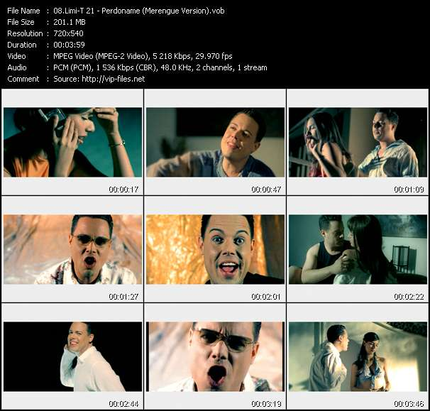 Screenshot of Music Video Limi-T 21 - Perdoname (Merengue Version)