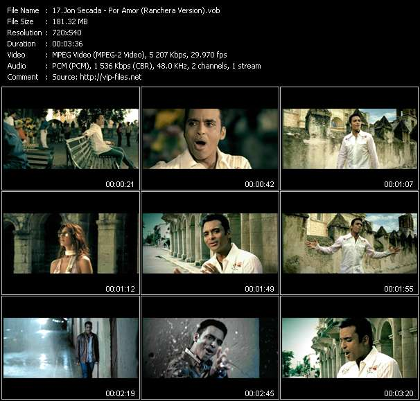 Screenshot of Music Video Jon Secada - Por Amor (Ranchera Version)