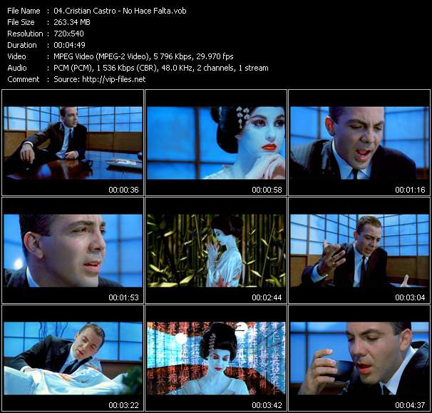 Screenshot of Music Video Cristian Castro - No Hace Falta