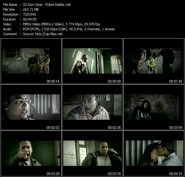 Screenshot of Music Video Don Omar - Pobre Diabla