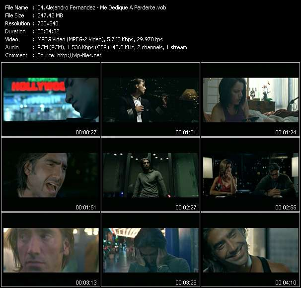 Screenshot of Music Video Alejandro Fernandez - Me Dedique A Perderte