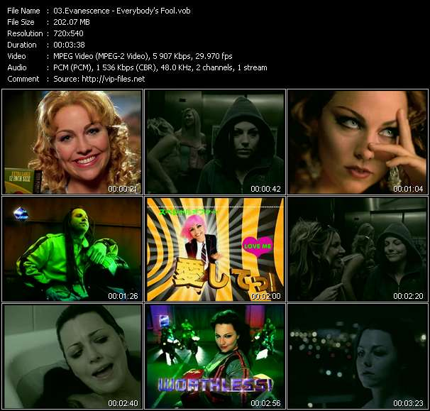 Screenshot of Music Video Evanescence - Everybody's Fool