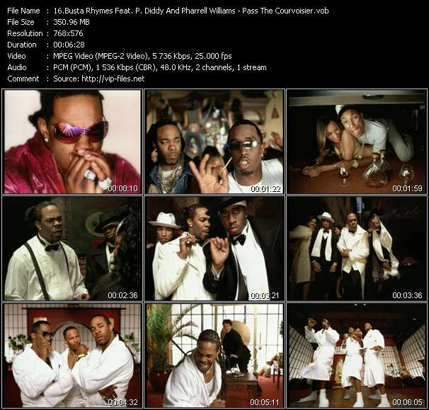 Screenshot of Music Video Busta Rhymes Feat. P. Diddy (Puff Daddy) And Pharrell Williams - Pass The Courvoisier