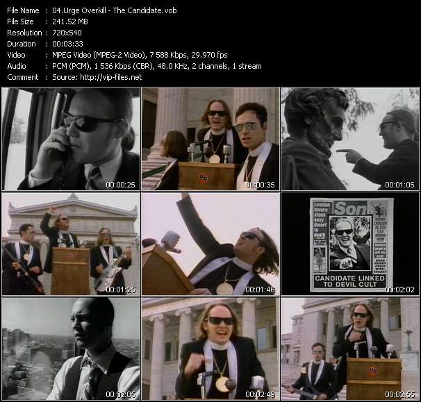 Screenshot of Music Video Urge Overkill - The Candidate