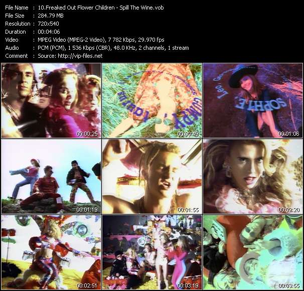 Screenshot of Music Video Freaked Out Flower Children - Spill The Wine