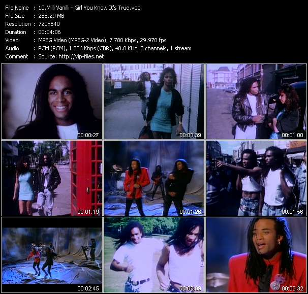 Screenshot of Music Video Milli Vanilli - Girl You Know It's True