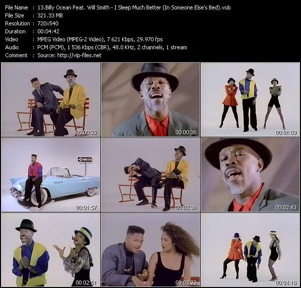 Screenshot of Music Video Billy Ocean Feat. Will Smith - I Sleep Much Better (In Someone Else's Bed)