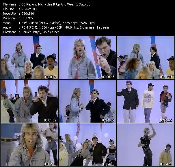 Screenshot of Music Video Pat And Mick - Use It Up And Wear It Out