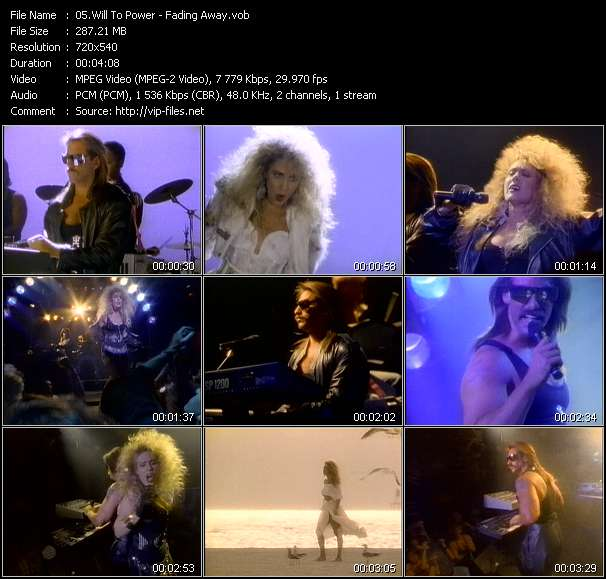Screenshot of Music Video Will To Power - Fading Away
