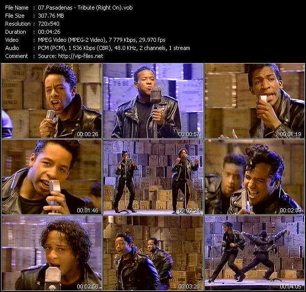 Screenshot of Music Video Pasadenas - Tribute (Right On)