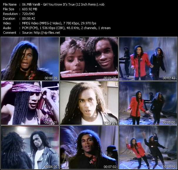 Screenshot of Music Video Milli Vanilli - Girl You Know It's True (12 Inch Remix)