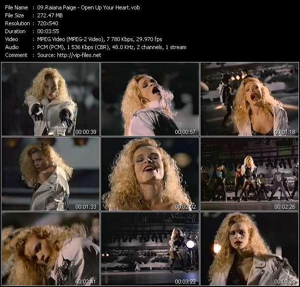 Screenshot of Music Video Raiana Paige - Open Up Your Heart