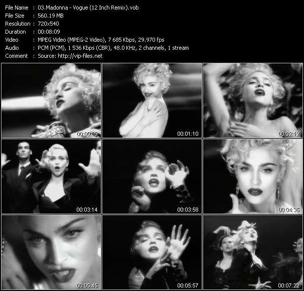 Screenshot of Music Video Madonna - Vogue (12 Inch Remix)