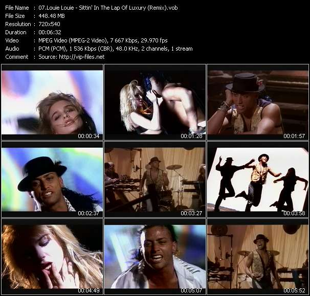 Screenshot of Music Video Louie Louie - Sittin' In The Lap Of Luxury (Remix)