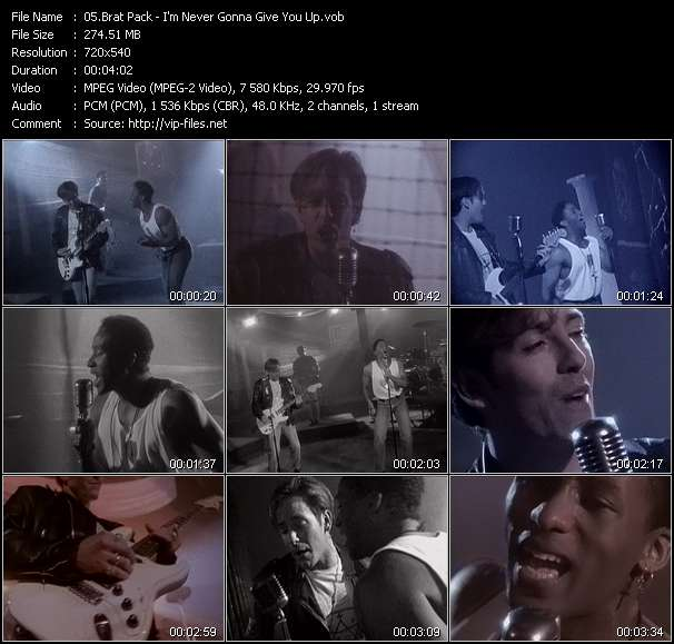 Screenshot of Music Video Brat Pack - I'm Never Gonna Give You Up