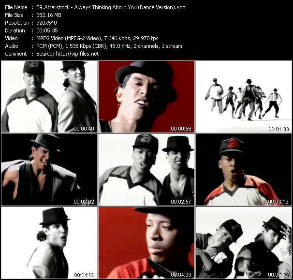 Screenshot of Music Video Aftershock - Always Thinking About You (Dance Version)