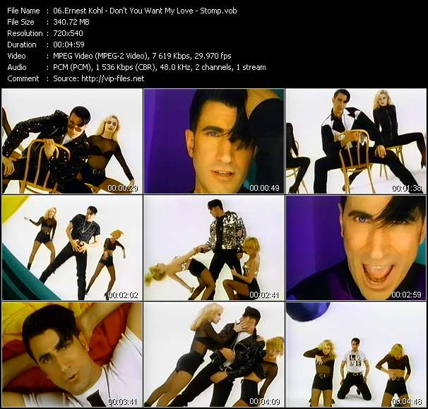 Screenshot of Music Video Ernest Kohl - Don't You Want My Love - Stomp