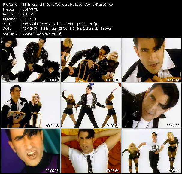 Screenshot of Music Video Ernest Kohl - Don't You Want My Love - Stomp (Remix)