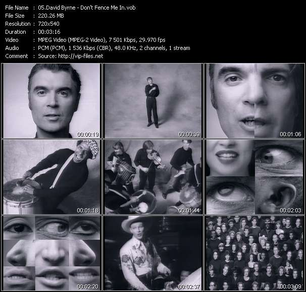 Screenshot of Music Video David Byrne - Don't Fence Me In