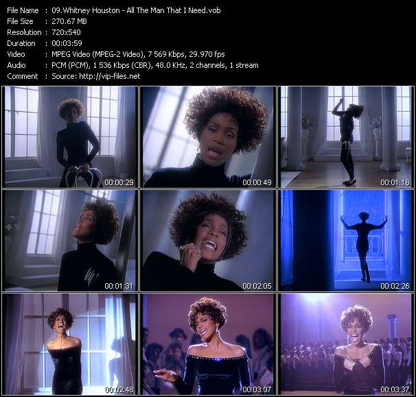 Screenshot of Music Video Whitney Houston - All The Man That I Need