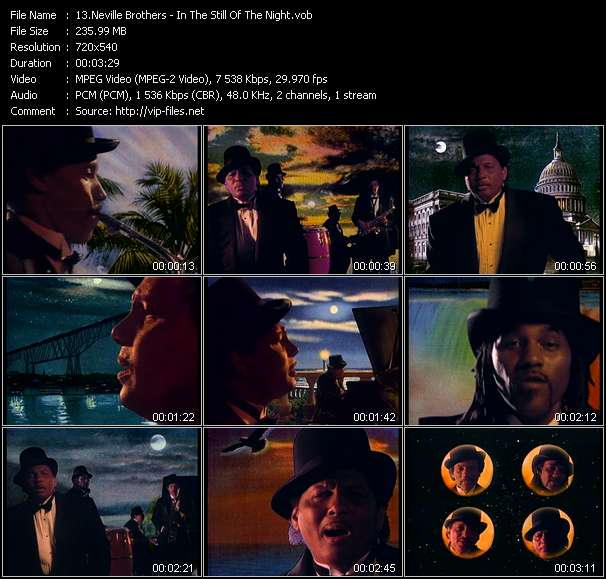 Screenshot of Music Video Neville Brothers - In The Still Of The Night