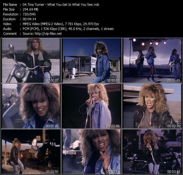 Screenshot of Music Video Tina Turner - What You Get Is What You See