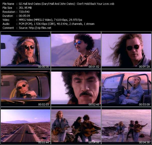 Screenshot of Music Video Hall And Oates (Daryl Hall And John Oates) - Don't Hold Back Your Love