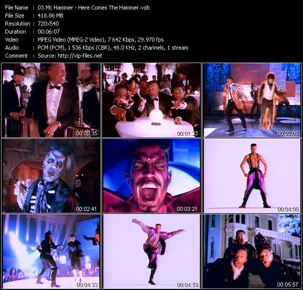 Screenshot of Music Video Mc Hammer - Here Comes The Hammer