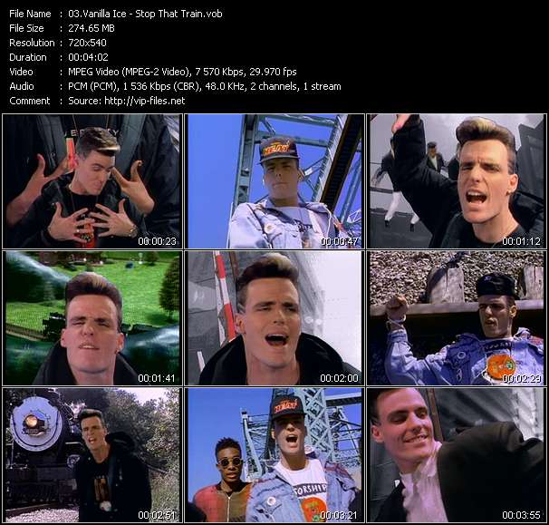 Screenshot of Music Video Vanilla Ice - Stop That Train