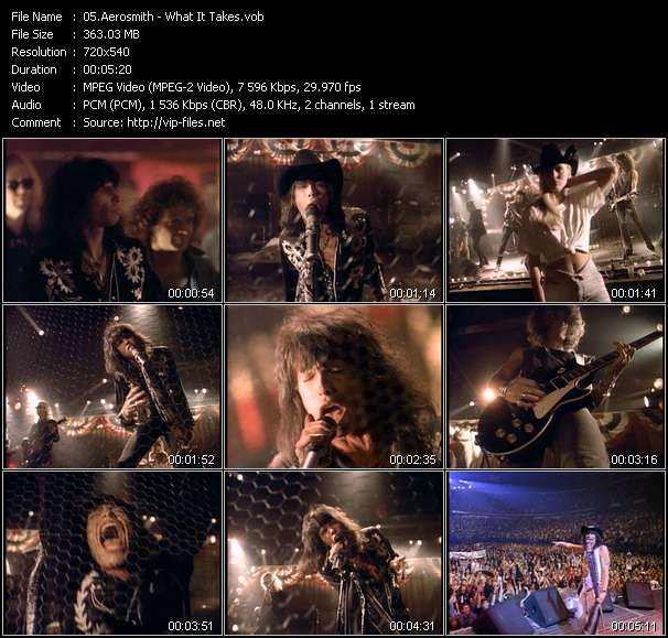 Screenshot of Music Video Aerosmith - What It Takes