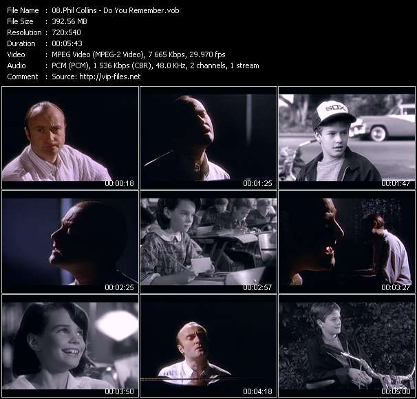 Screenshot of Music Video Phil Collins - Do You Remember?